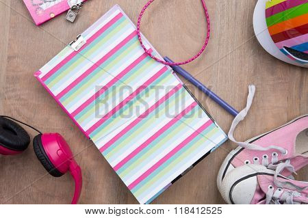 Outfit Of Student,teenager,student Objects. Pastel Tender Colors.