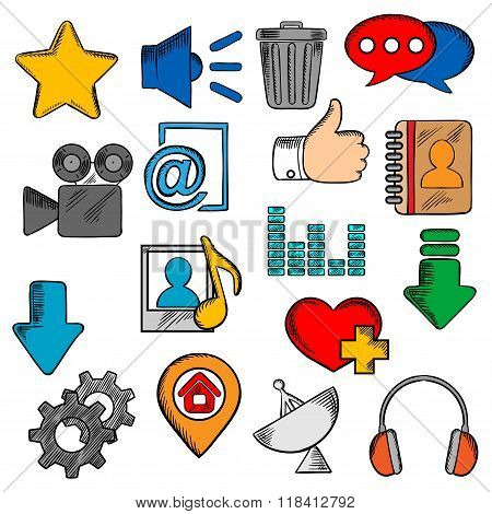Colorful social media and web icons set