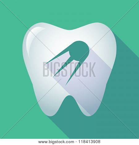 Long Shadow Tooth Icon With A Vintage Satellite