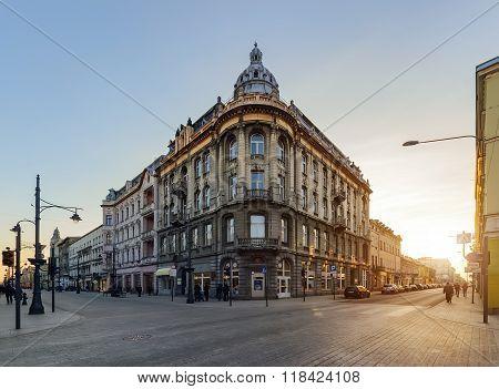 LODZ, POLAND - FEBRUARY 07, 2016: Architecture Of Piotrkowska Street In Lodz