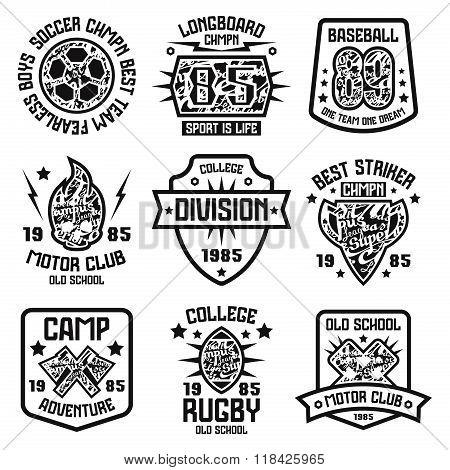 Sport Badges. Graphic Design For T-shirt