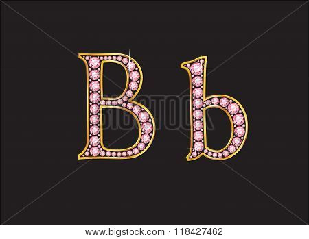 Bb Rose Quartz Jeweled Font With Gold Channels