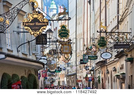 Famous Shopping Street In Salzburg, Austria