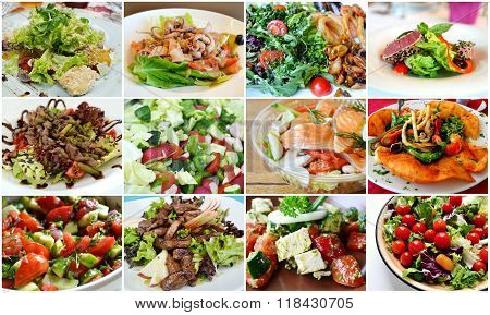 Collage of different types of salads - greek, caesar and with seafood