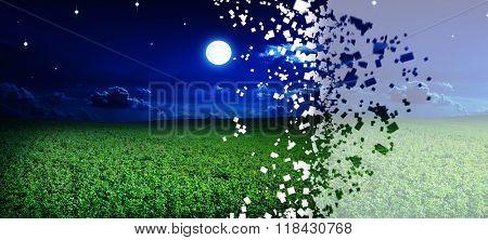disintegrate green night field. star sky