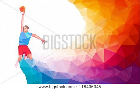 Polygonal geometric style illustration of a basketball player jump shot jumper shooting jumping view