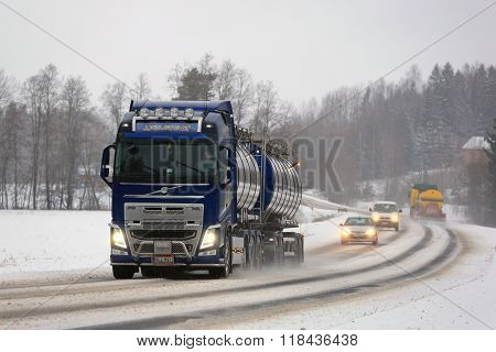 New Volvo FH Tank Truck On Foggy Day