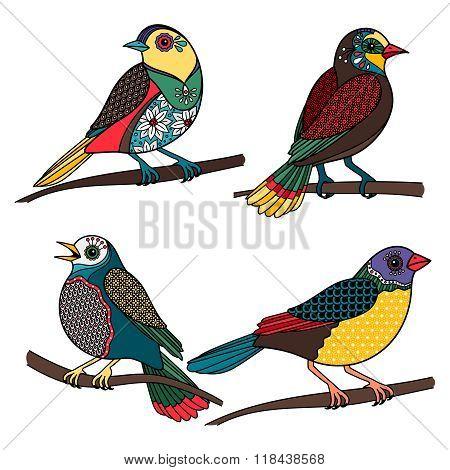 Hand drawn ornamental birds