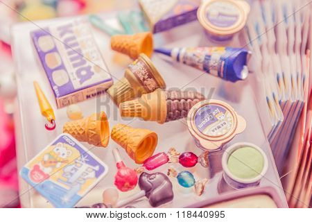 Bangkok,thailand - February 16, 2016:variety Of Miniature Clay Sweet And Candy Collection Vintage.re