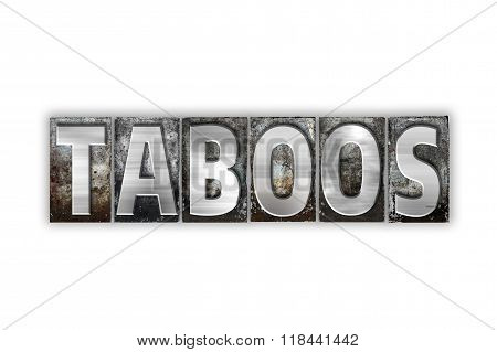 Taboos Concept Isolated Metal Letterpress Type