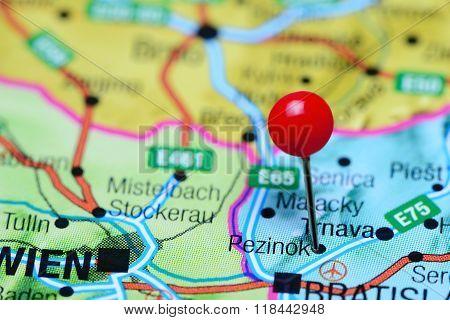Pezinok pinned on a map of Slovakia