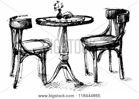 Vector Sketch Of A Round Wooden Table And Two Chairs In Vienna