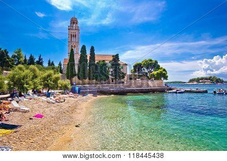 Hvar Island Turquoise Beach And Stone Church