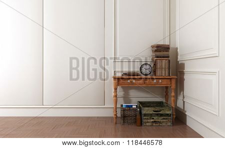 Crates and Baskets Underneath Old Wooden Table Topped with Antique Books and Clock in Spacious Modern Room with White Walls and Stylish Paneling. 3d Rendering.