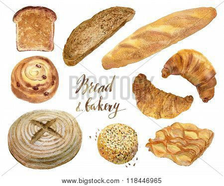 Watercolor set of baking in realistic style.