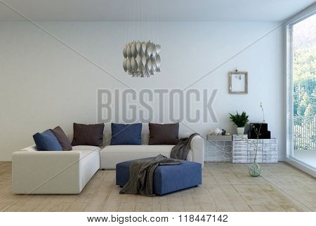 Living Room Interior Decorated with Simple Furnishings - L Shaped Sofa with Cushions and Ottoman in Living Space with Modern Chandelier and Large Window with Forest View. 3d Rendering. poster