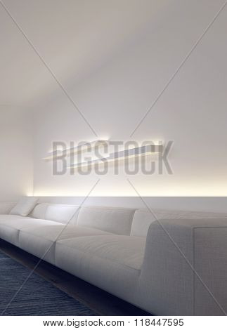 Long White Plush Sofa in Modern Living Room with Wall Shelves and Lighting Illuminating Bare White Walls - Contemporary Couch in Spacious Living Room. 3d Rendering.