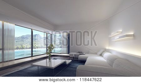 White Sofa and Modern Furnishings in Spacious Living Room of Luxury Vacation Apartment with View Through Large Picture Windows of Tropical Beach and Mountains. 3d Rendering.