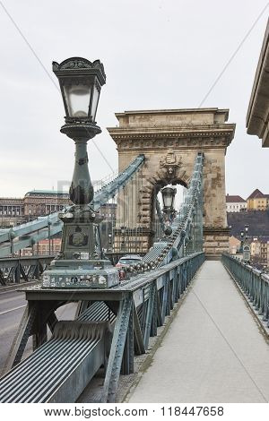 BUDAPEST, HUNGARY - FEBRUARY 02: Szechenyi Chain Bridge with Buda Castle in the background. February 02, 2016 in Budapest.