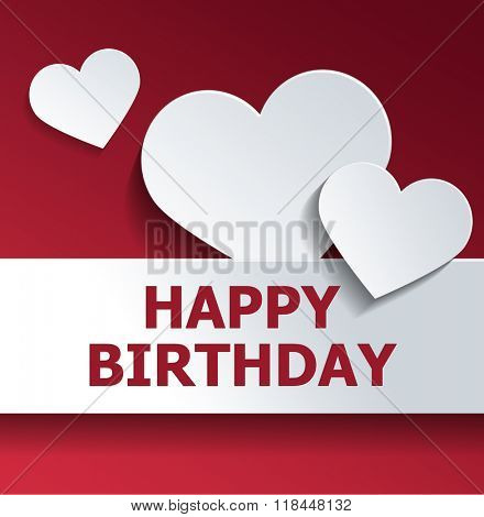 Graphic Greeting Card - White Paper Heart Cut Outs with Happy Birthday Banner on Red Background with Copy Space. 3d Rendering.