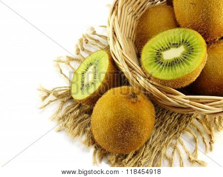 Close Up Of Brown Kiwi With Green Slices