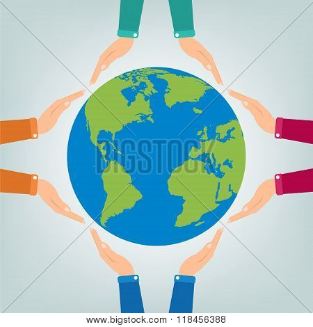 Hands Holding Protect Globe Earth On Orange Background. Vector Illustration  Love And Save Earth Con