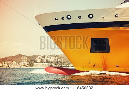 Big Yellow Passenger Ferry Ship Goes On Speed, Toned