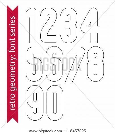 Double Clear Delicate Line Retro Numbers Set, Vector Light Digits With Outline Isolated On White Bac