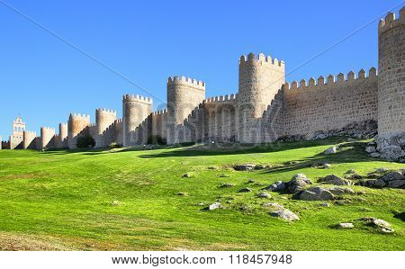 Panoramic view of medieval city walls of Avila, Spain