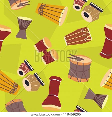 Seamless Ethnic Drums Pattern