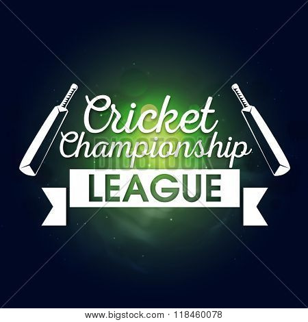 Stylish text Cricket Championship League with bats on shiny background, can be used as poster, banner or flyer design. poster