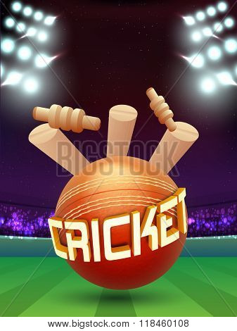Creative Cricket Ball hit the Wicket Stumps on stadium lights background.