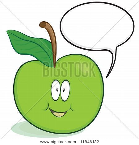 Cute apple cartoon character with optional speech bubble poster