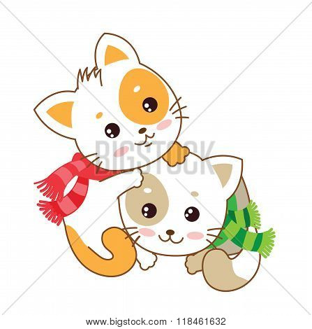 Two Kittens. Vector Kittens. The Cats Play. Playful Cats. Vector Illustration. Two Joyful Cats. Cats As Pets. Two Kittens Hugging. Kittens For Sale. Kittens For Adoption. Baby Cute Kittens.