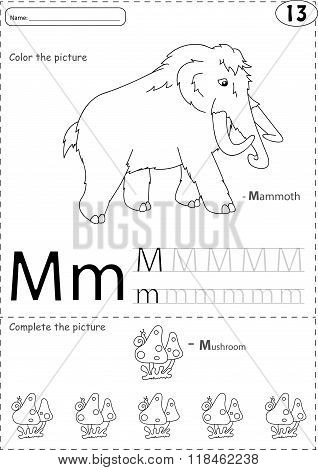 Cartoon Mammoth And Mushroom. Alphabet Tracing Worksheet: Writing A-z And Educational Game For Kids