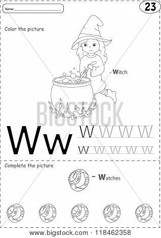 Cartoon Witch  And Watches. Alphabet Tracing Worksheet: Writing A-z And Educational Game For Kids