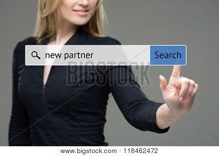 woman presses button - new partner.