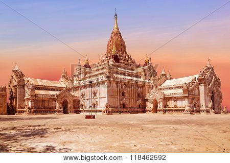 Ananda Temple On Bagan Plain, Beautifully Colored Evening Sun, Myanmar