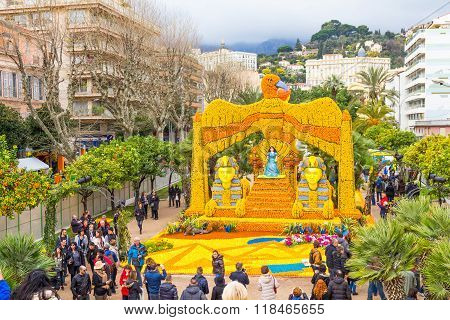 Menton, France - February 14, 2016: Sphinx And Cleopatra Made Of Lemons And Oranges In The Famous Fe