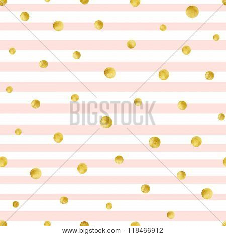 Seamless pattern with hand painted gold circles. Gold polka dot pattern
