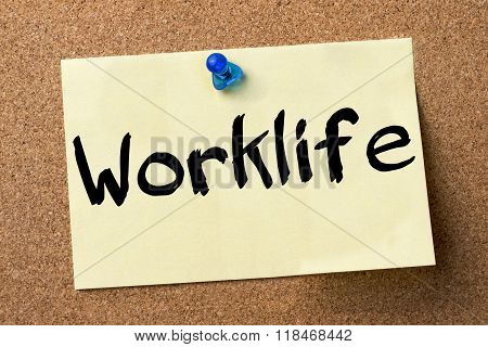 Worklife - Adhesive Label Pinned On Bulletin Board