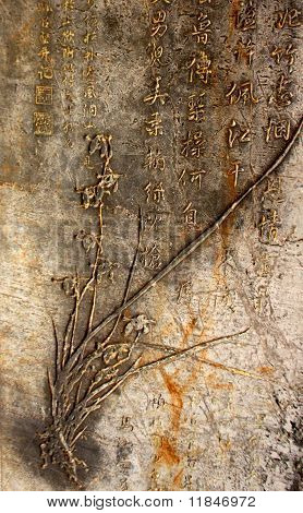 Ancient Chinese calligraphy on the Cave wall in Guiling, China poster