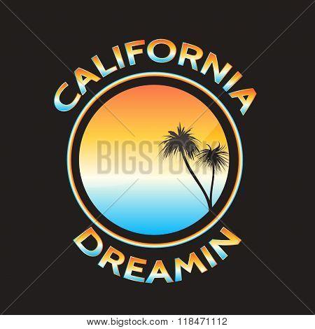 California. Sticker or t-shirt print design