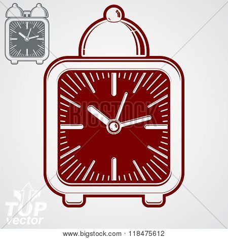 Vector squared 3d alarm clock with clock bell decorative wake up conceptual icon. Graphic design element, get up theme.