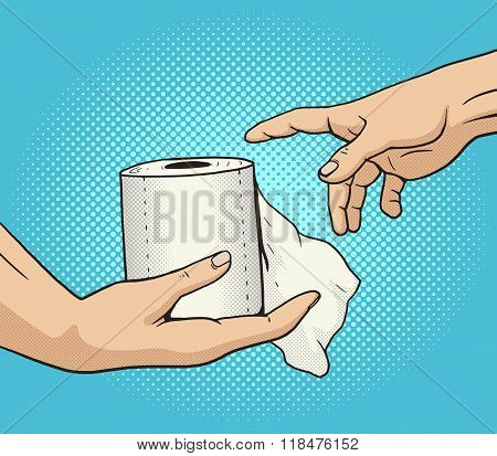 Hand gives a toilet paper to other hand pop art