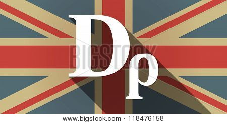 Long Shadow Uk Flag Icon With A Drachma Currency Sign