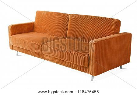 isolated on white orange couch