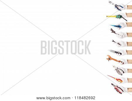Set Of Construction Tools, Isolated