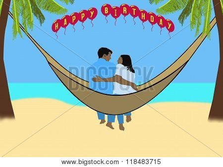 Couple In A Hammock On A Tropical Beach With Happy Birthday Balloons