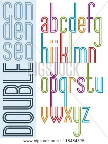 Poster Condensed Bright Font With Double Stripes, Compact Cartoon Lowercase Letters On White Backgro